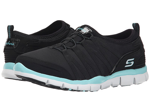 SKECHERS - Gratis - Shake-It-Off (Black/Aqua) Women's Lace up casual Shoes