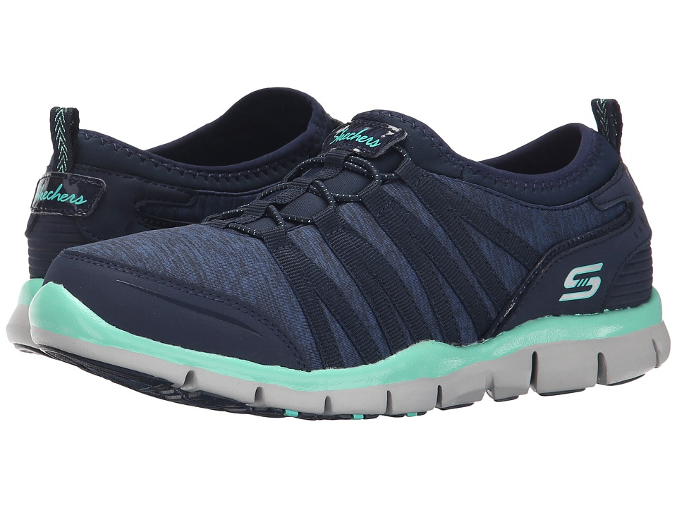 SKECHERS - Gratis - Shake-It-Off (Navy/Green) Women's Lace up casual Shoes