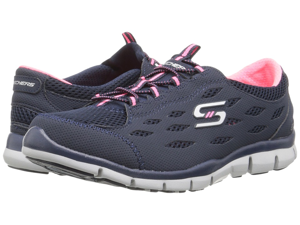 SKECHERS - Gratis - Going Places (Navy/Pink) Women's Lace up casual Shoes