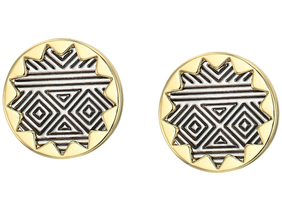 House of Harlow 1960 - Sunburst Button Earrings (Silver/Gold) Earring
