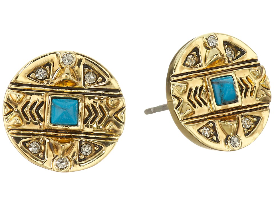 House of Harlow 1960 - Maricopa Coin Stud Earrings (Turquoise) Earring