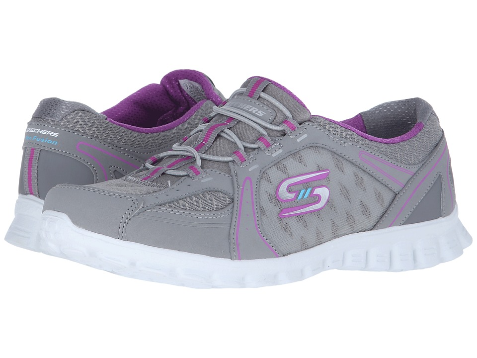 SKECHERS - EZ Flex 2 - Right-On (Gray/Purple) Women's Lace up casual Shoes