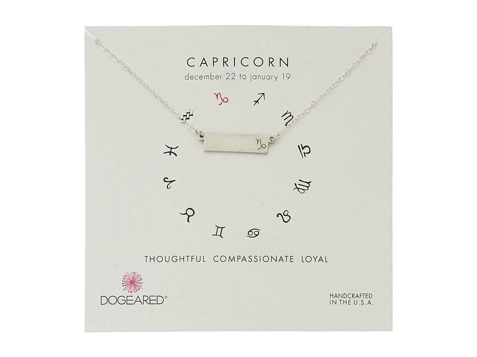 Dogeared - Capricorn Zodiac Bar Necklace (Sterling Silver) Necklace