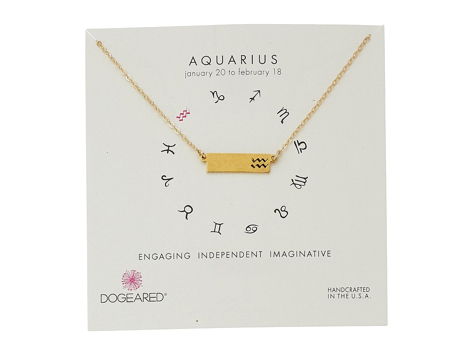 Dogeared - Aquarius Zodiac Bar Necklace (Gold Dipped) Necklace