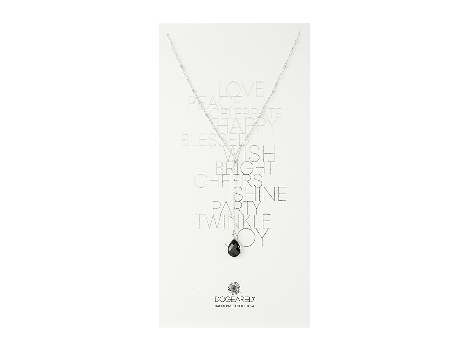 Dogeared - Love Peace Beaded Y Necklace, Black Spinel (Sterling Silver/Black Spinel) Necklace