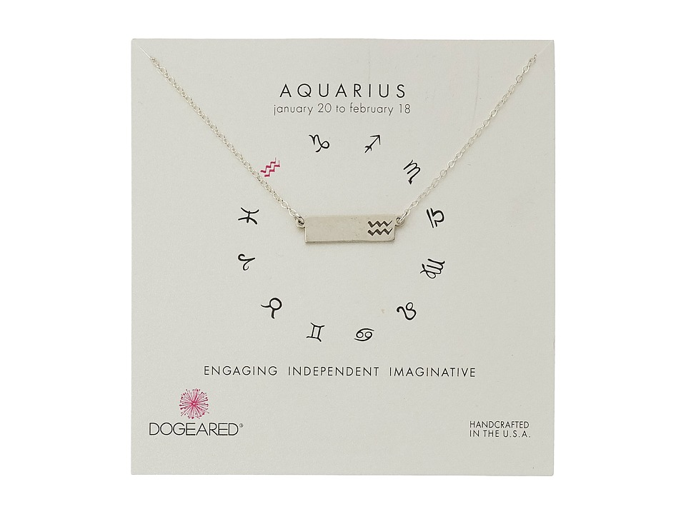 Dogeared - Aquarius Zodiac Bar Necklace (Sterling Silver) Necklace
