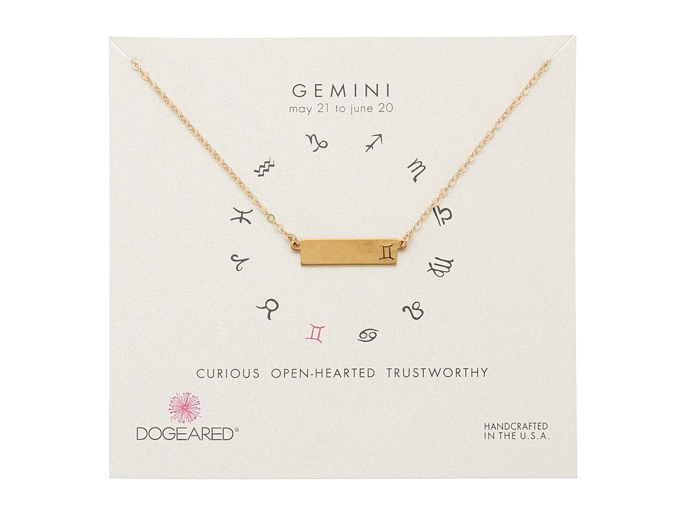 Dogeared - Gemini Zodiac Bar Necklace (Gold Dipped) Necklace