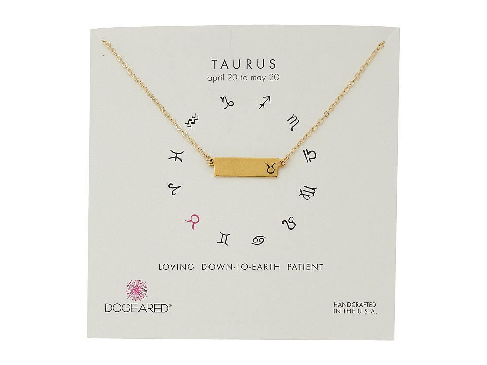 Dogeared - Taurus Zodiac Bar Necklace (Gold Dipped) Necklace