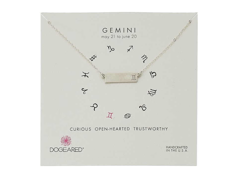 Dogeared - Gemini Zodiac Bar Necklace (Sterling Silver) Necklace