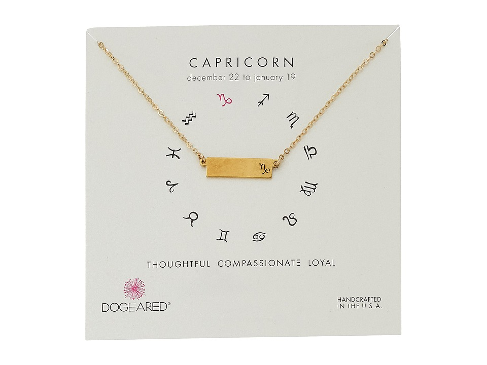 Dogeared - Capricorn Zodiac Bar Necklace (Gold Dipped) Necklace