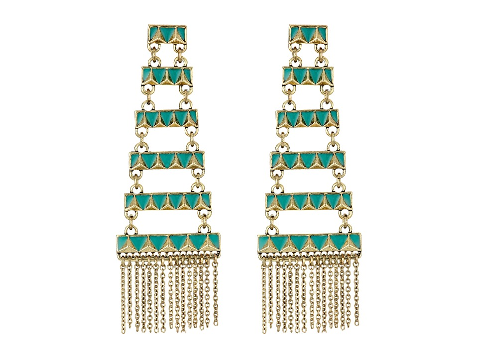 House of Harlow 1960 - Peak to Peak Fringe Earrings (Turquoise) Earring