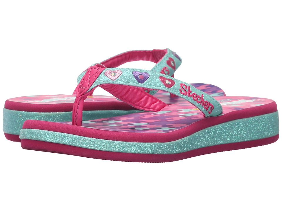 SKECHERS KIDS - Sunshines 10602L Lights (Little Kid) (Aqua/Hot Pink) Girls Shoes