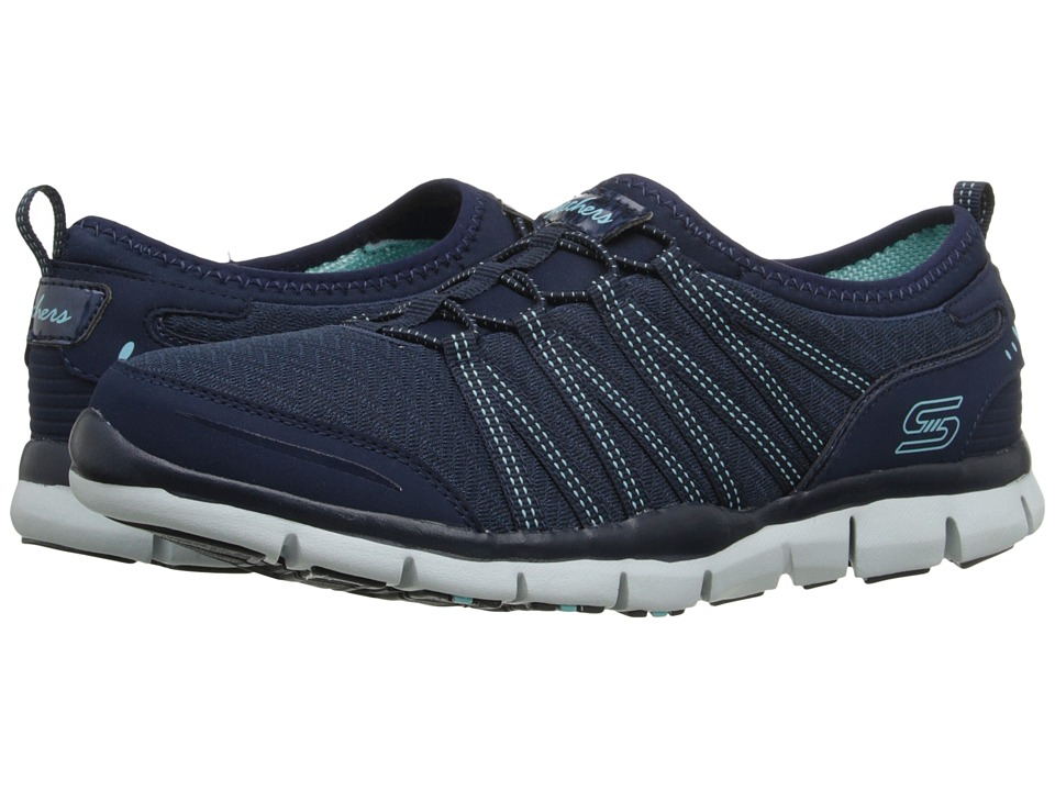SKECHERS - Glider - Zag (Navy/Aqua) Women's Lace up casual Shoes