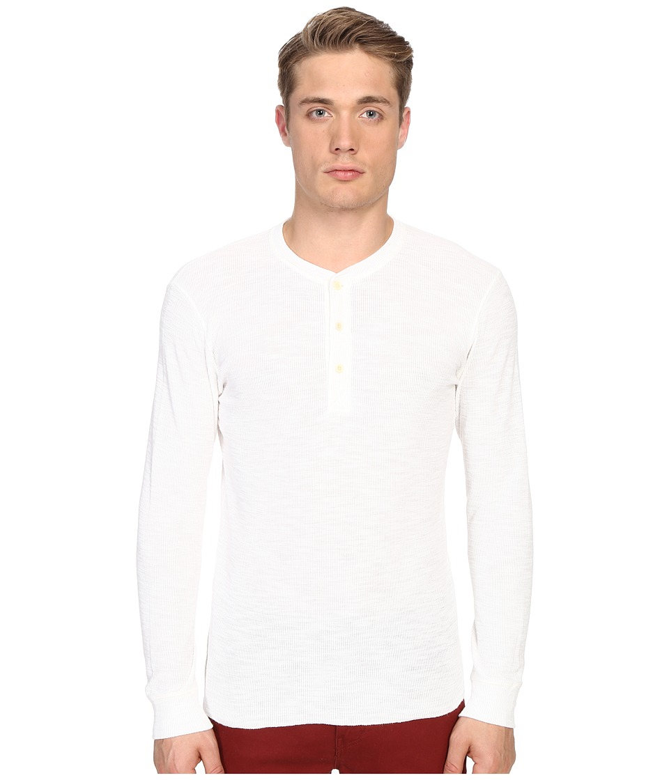 Billy Reid - Long Sleeve Hunter Henley (White) Men's T Shirt
