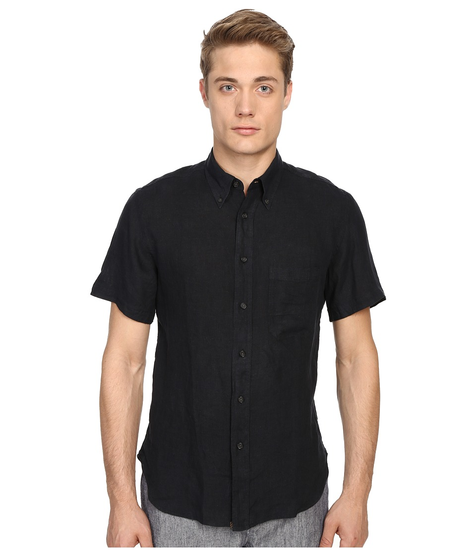 Billy Reid - Short Sleeve Tuscumbia Shirt (Black) Men's Short Sleeve Button Up