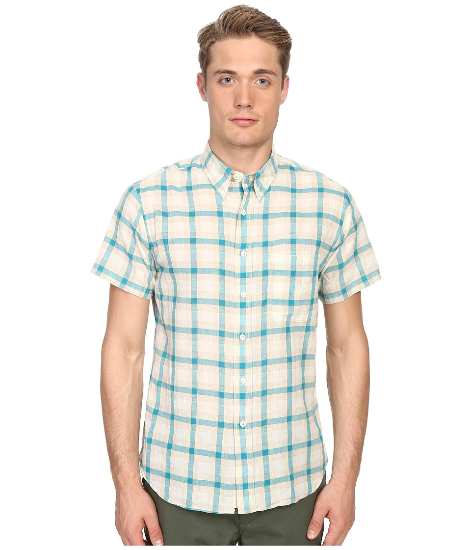 Billy Reid - Short Sleeve Tuscumbia Shirt (Cyan/Tan) Men's Short Sleeve Button Up