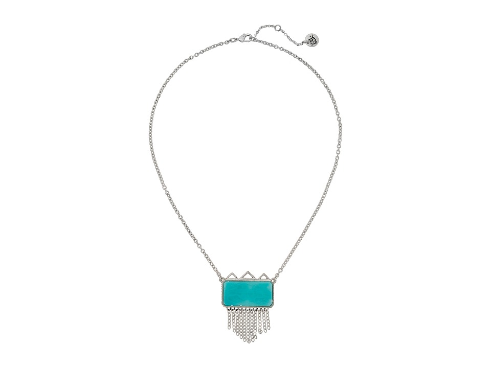 The Sak - Stone Fringe Pendant Necklace 18 (Turquoise) Necklace