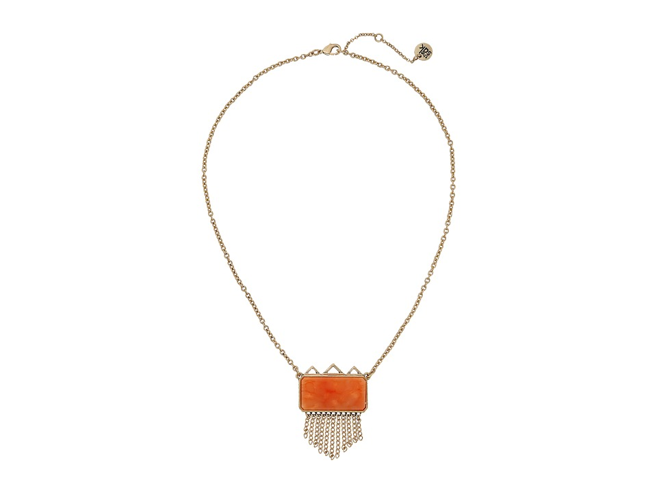 The Sak - Stone Fringe Pendant Necklace 18 (Coral) Necklace