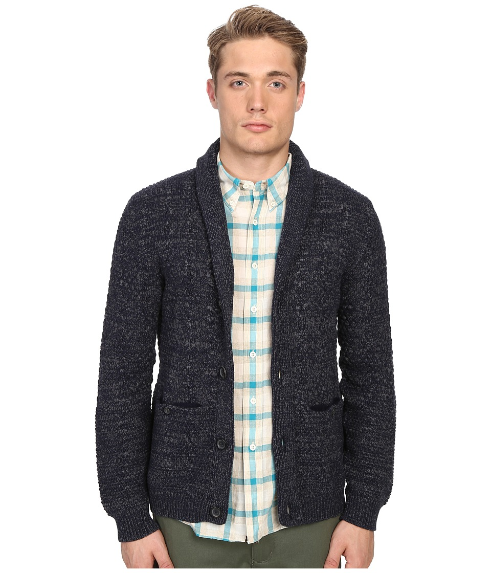 Billy Reid - Textured Cardigan (Navy) Men's Sweater