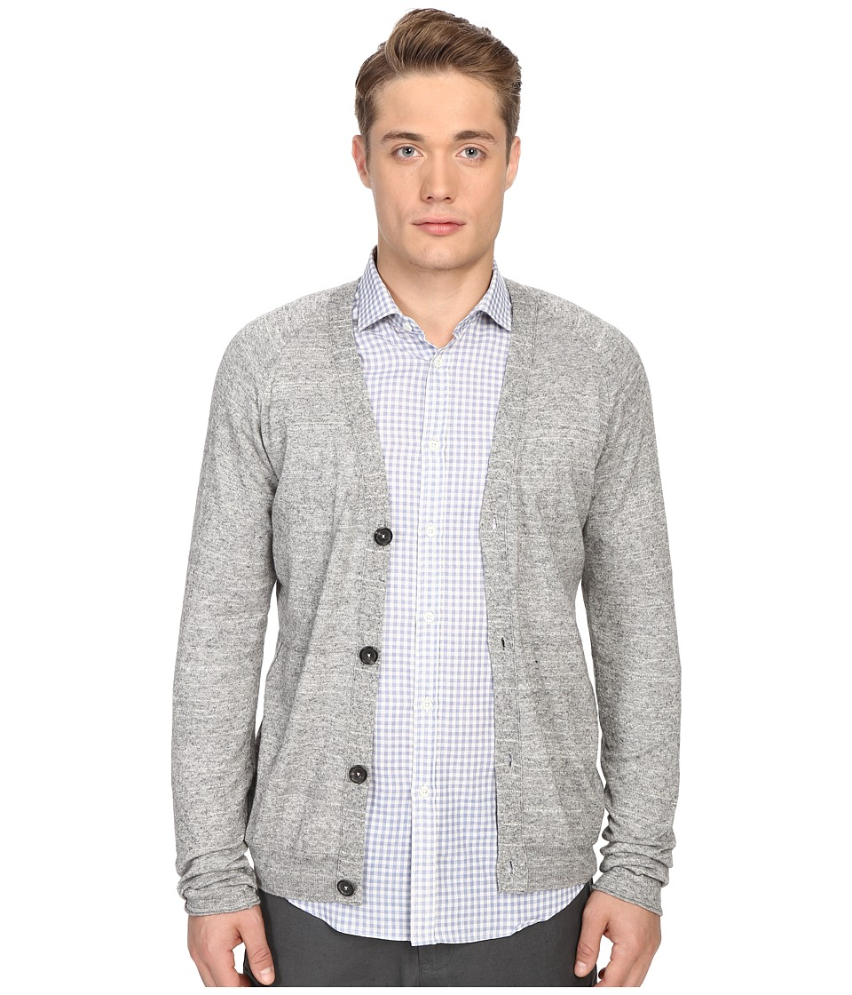 Billy Reid - Jersey Roll Cardigan (Grey) Men's Sweater