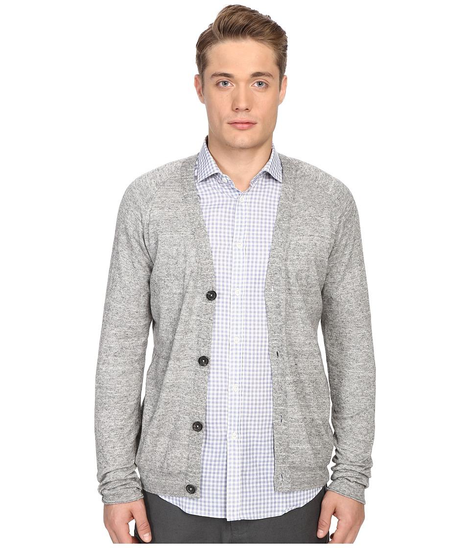 Billy Reid - Jersey Roll Cardigan (Grey) Men's Sweater