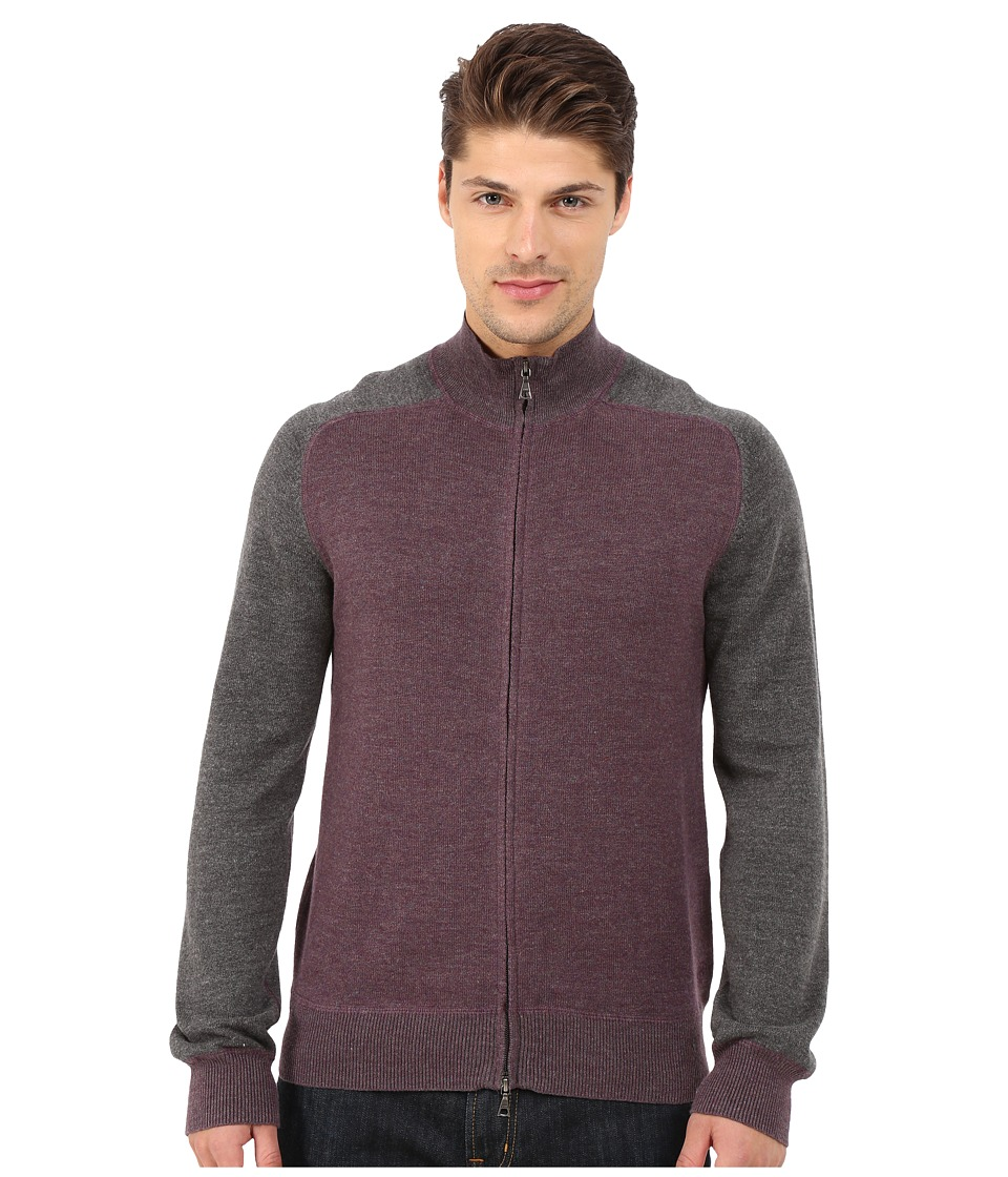 Agave Denim - Long Sleeve Full Zip Mock Neck Color Block Top (Plum/Charcoal) Men's Clothing
