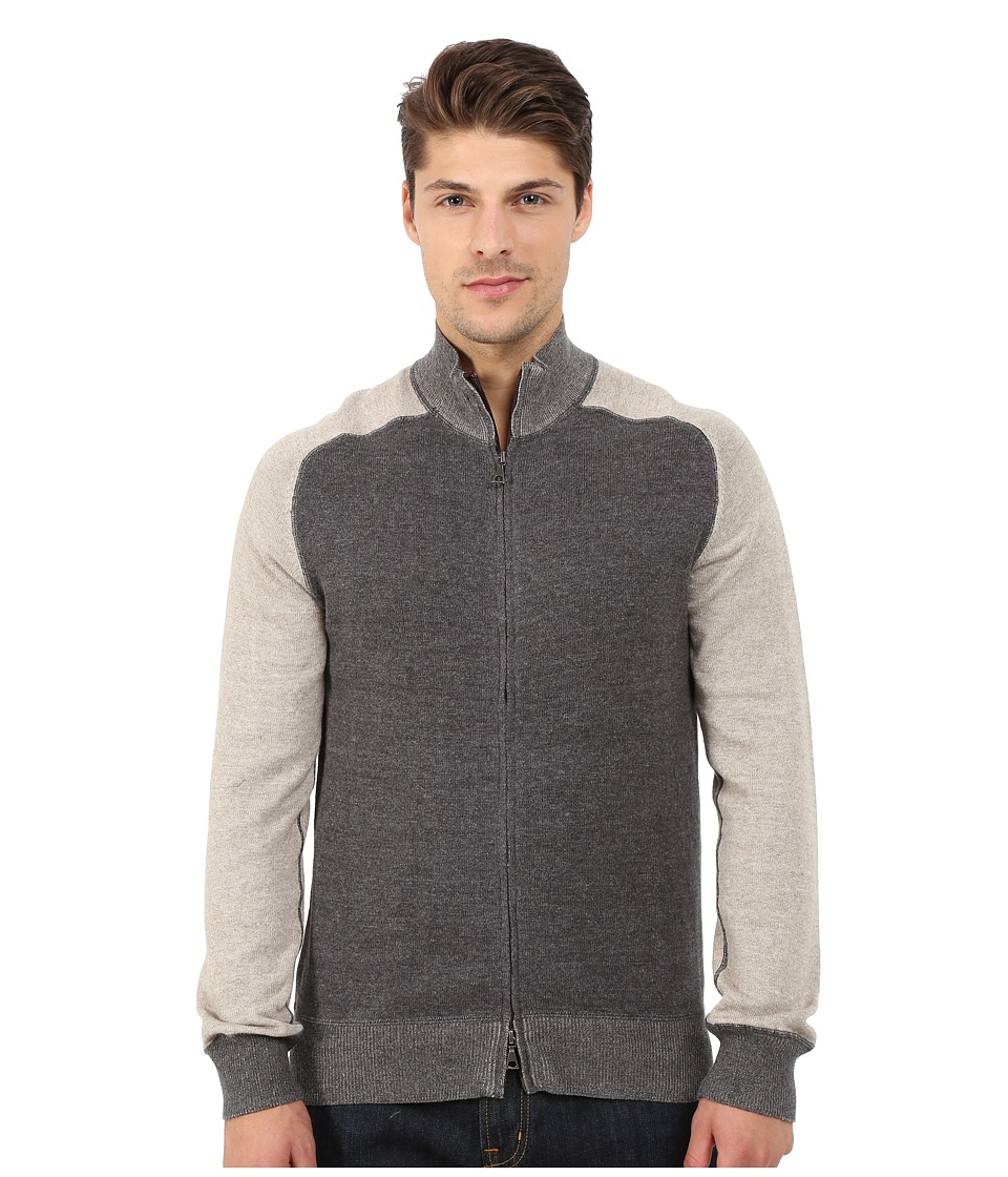 Agave Denim - Long Sleeve Full Zip Mock Neck Color Block Top (Charcoal/Dove) Men's Clothing