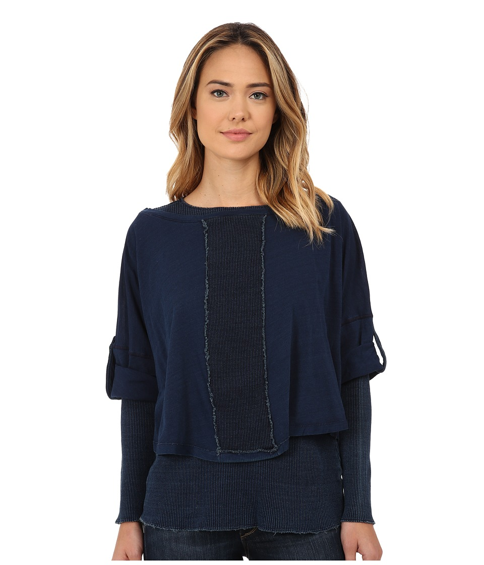 Miraclebody Jeans - Mixed Double Layer Long Sleeve Tee w/ Body-Shaping Inner Shell (Indigo Blue) Women's Long Sleeve Pullover