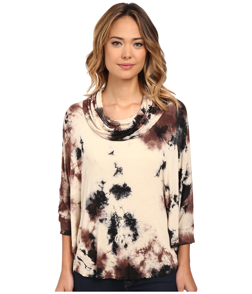 Miraclebody Jeans Cassi Timberwash Cowl Top w/ Body-Shaping Inner Shell (Acorn Brown) Women