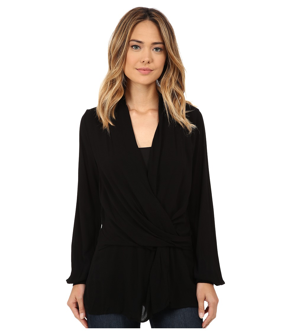 Miraclebody Jeans - Riley Wrap Front Top w/ Body-Shaping Inner Shell (Black) Women's Clothing