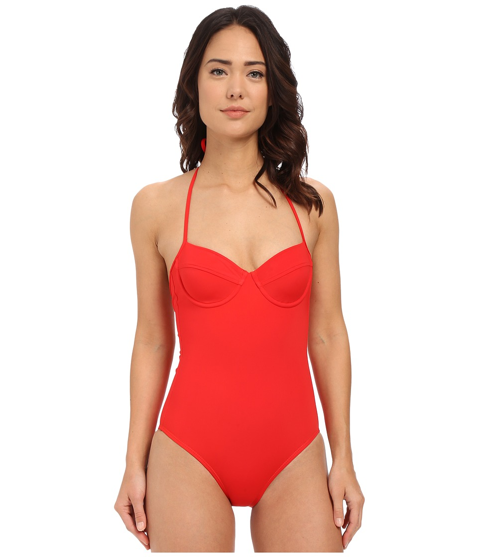 Shoshanna - Red Solid Lattice Back One-Piece (Red) Women's Swimsuits One Piece