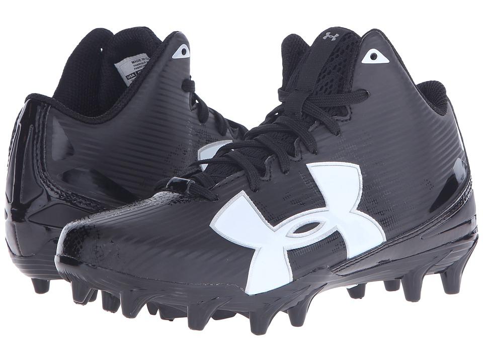 Under Armour Kids - UA Fierce Phantom Mid MC Jr. Football (Little Kid/Big Kid) (Black/White) Boys Shoes