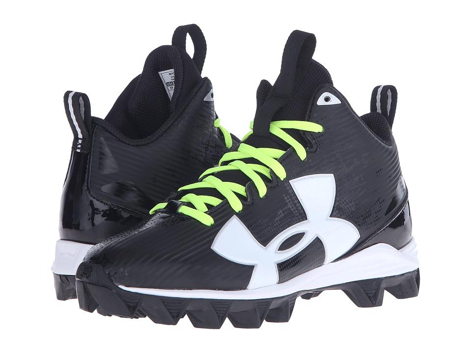 Under Armour Kids - UA Crusher RM Jr. Football (Little Kid/Big Kid) (Black/White) Boys Shoes
