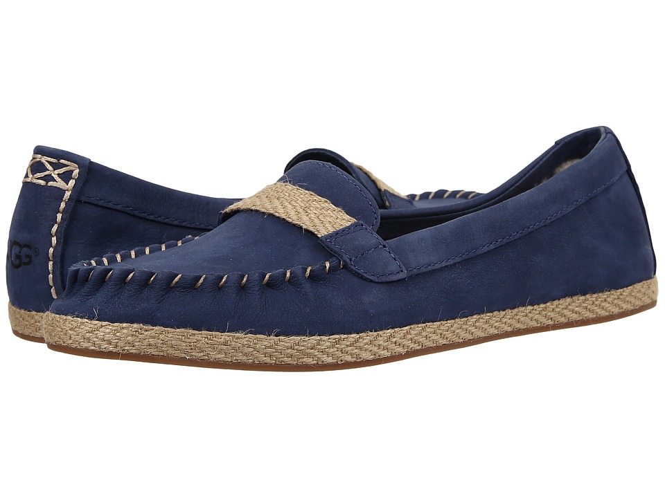UGG - Rozie (Racing Stripe Blue Nubuck) Women's Flat Shoes