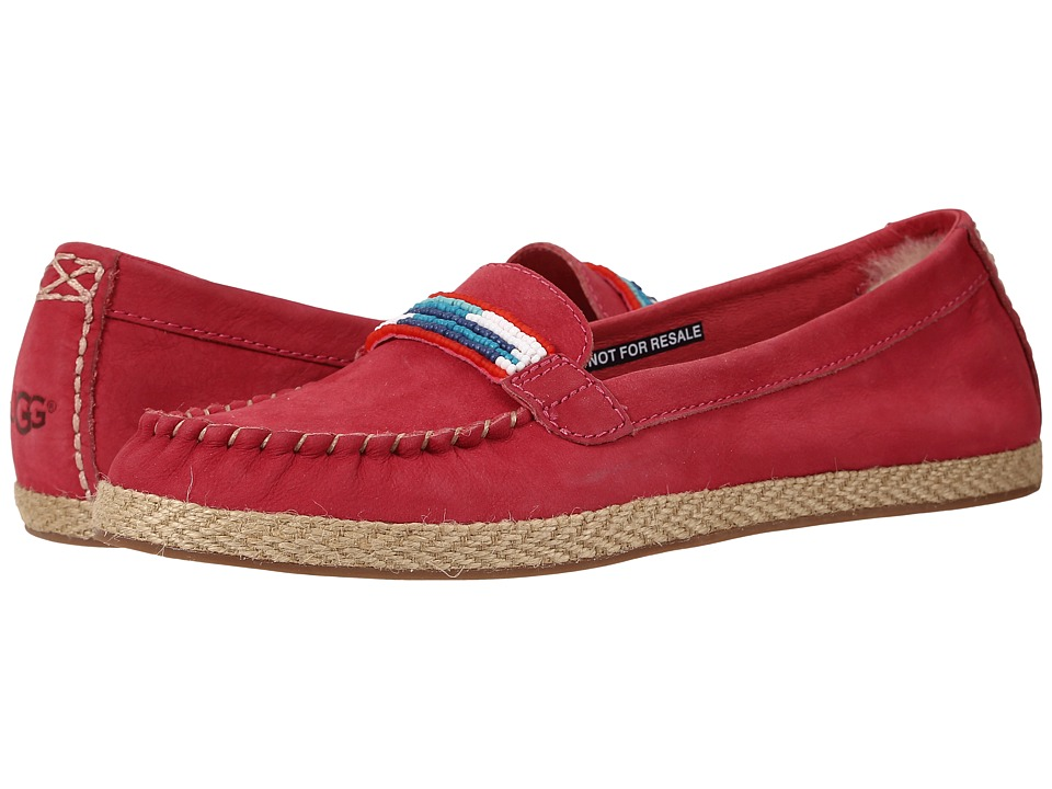 UGG - Rozie Serape Beads (Sunset Red Nubuck) Women's Flat Shoes