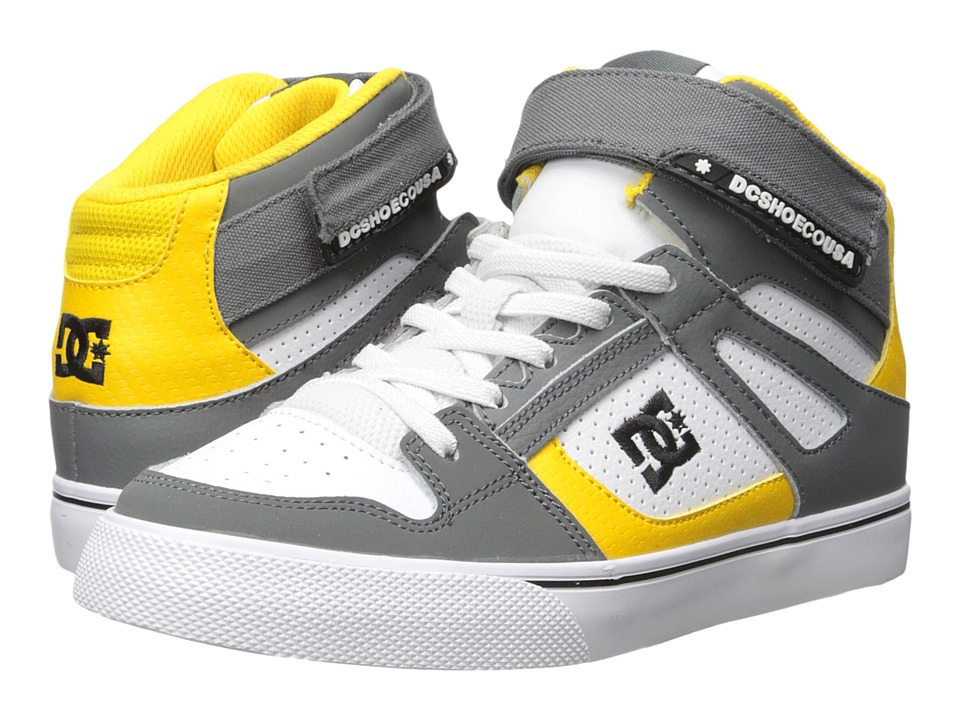 DC Kids - Spartan High EV (Big Kid) (Grey/Yellow/White) Boys Shoes