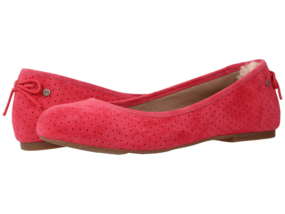 UGG - Karlina Geo Perf (Sunset Red Suede) Women's Flat Shoes