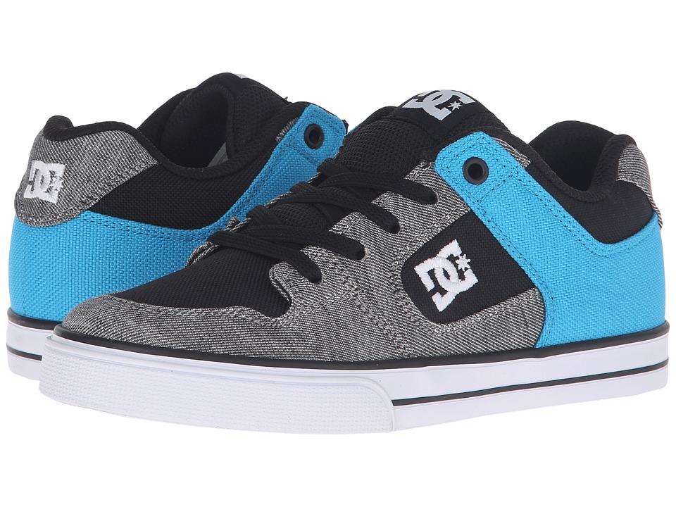 DC Kids - Pure Elastic TX SE (Big Kid) (Grey/Black/Blue) Boys Shoes