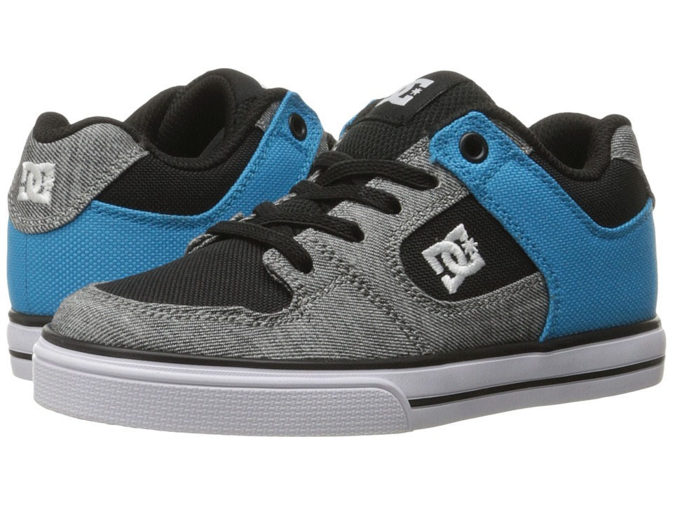 DC Kids - Pure Elastic TX SE (Little Kid) (Grey/Black/Blue) Boys Shoes