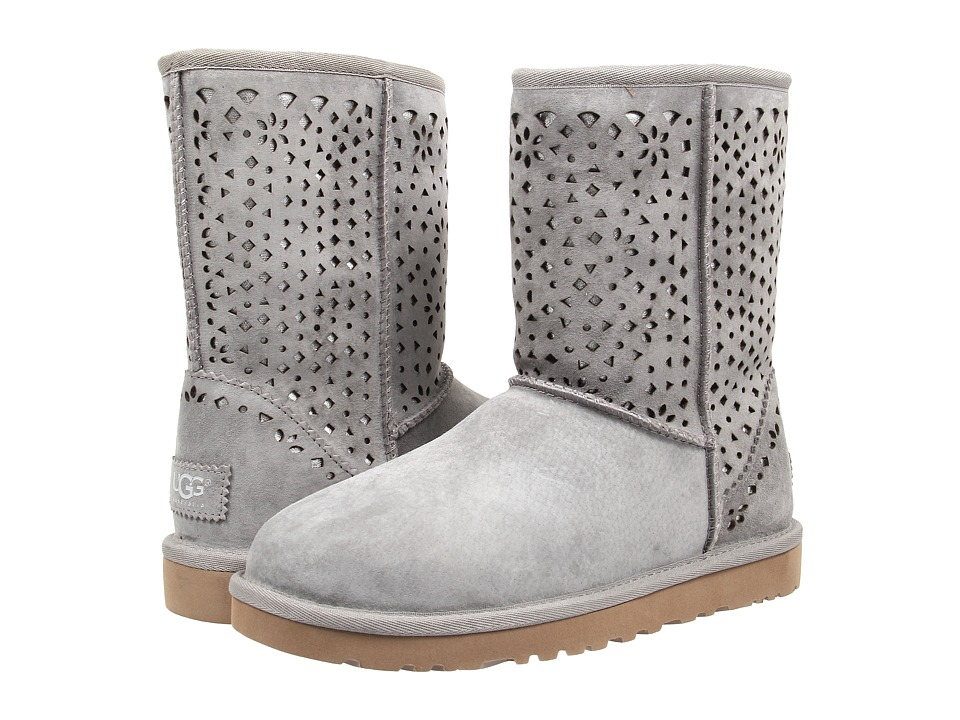 UGG - Classic Short Flora Perf (Light Grey Water Resistant Suede) Women's Pull-on Boots