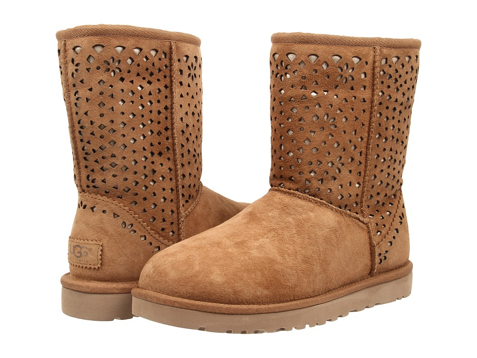 UGG Classic Short Flora Perf (Chestnut Water Resistant Suede) Women