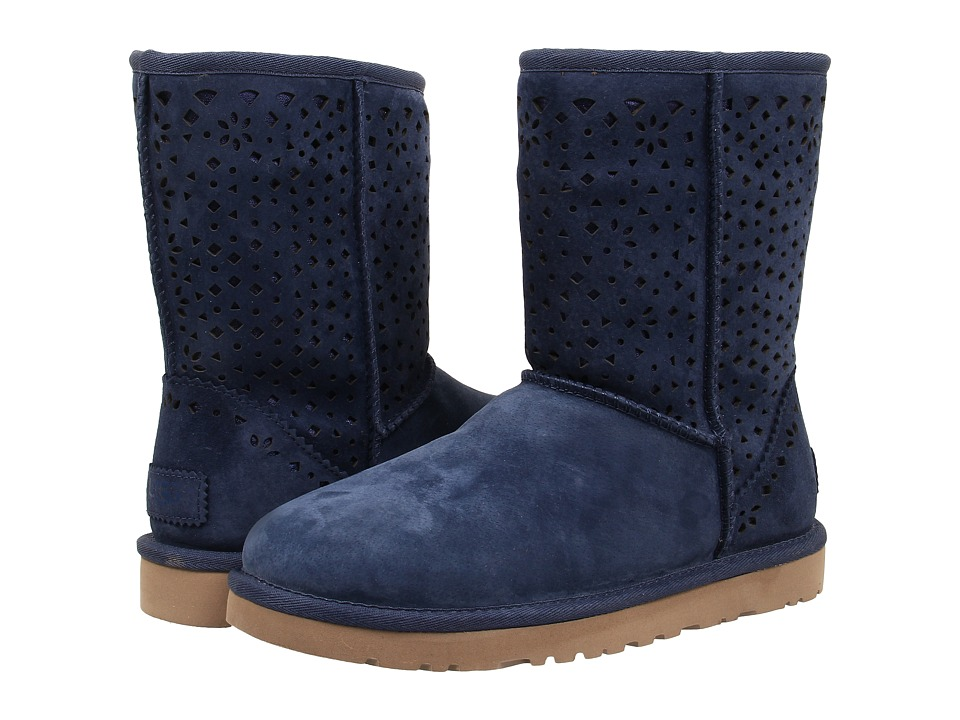 UGG - Classic Short Flora Perf (Navy Water Resistant Suede) Women's Pull-on Boots