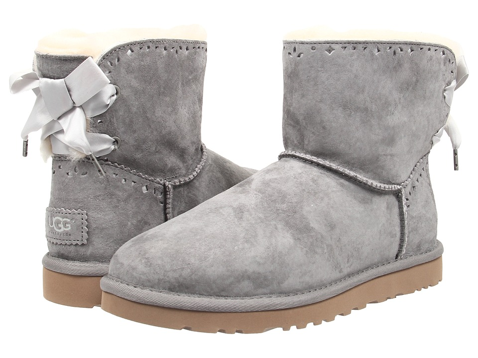 UGG - Dixi Flora Perf (Light Grey Water Resistant Suede) Women's Pull-on Boots