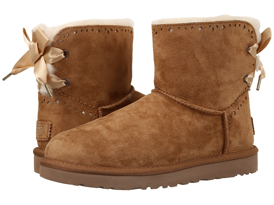 UGG - Dixi Flora Perf (Chestnut Water Resistant Suede) Women's Pull-on Boots