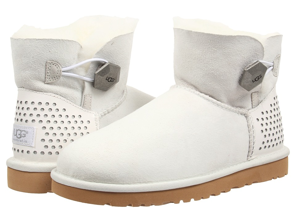 UGG - Mini Bailey Button Geo Perf (White Twinface) Women's Pull-on Boots