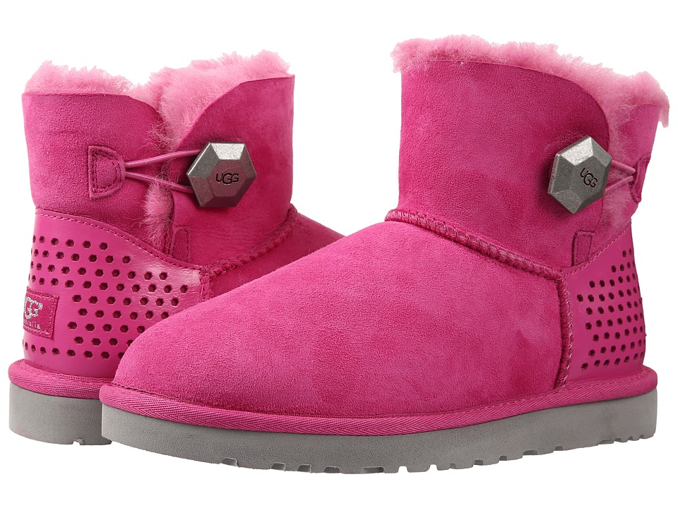 UGG - Mini Bailey Button Geo Perf (Furious Fuchsia Twinface) Women's Pull-on Boots
