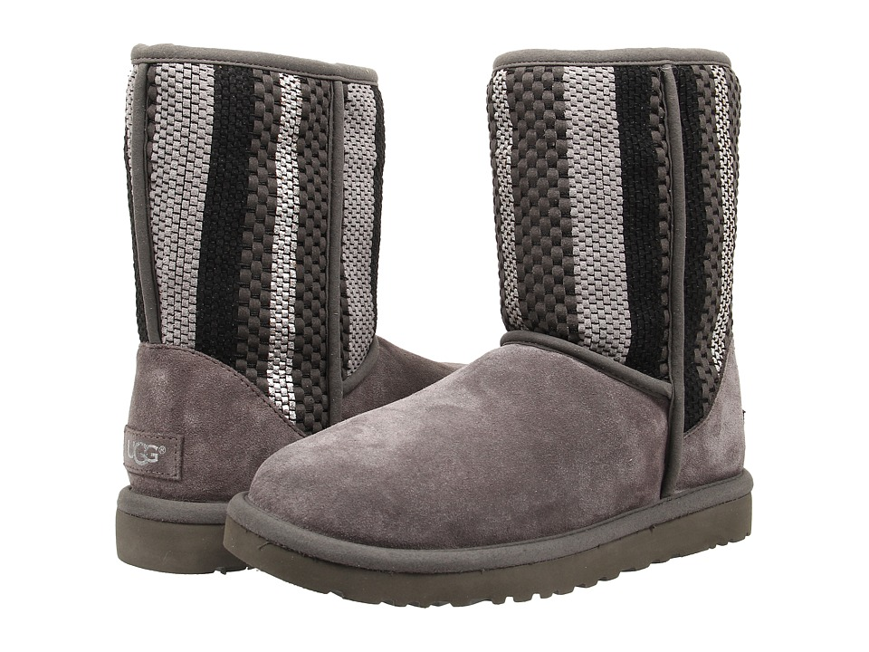 UGG - Classic Short Woven Suede (Charcoal Suede) Women's Pull-on Boots