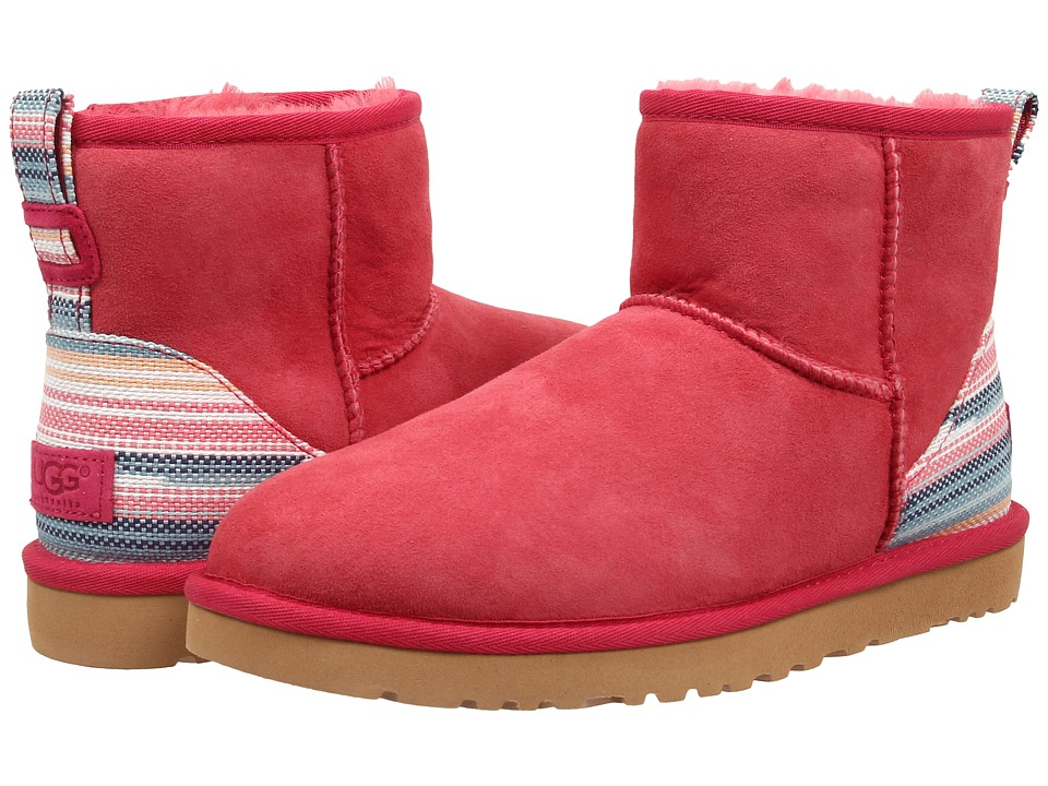 UGG - Classic Mini Serape (Sunset Red Twinface) Women's Pull-on Boots