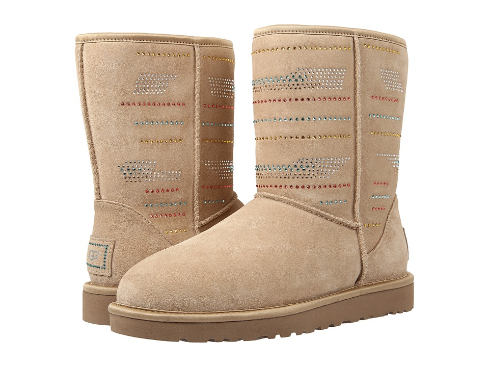 UGG - Classic Short Serape Bling (Sand Twinface) Women's Pull-on Boots