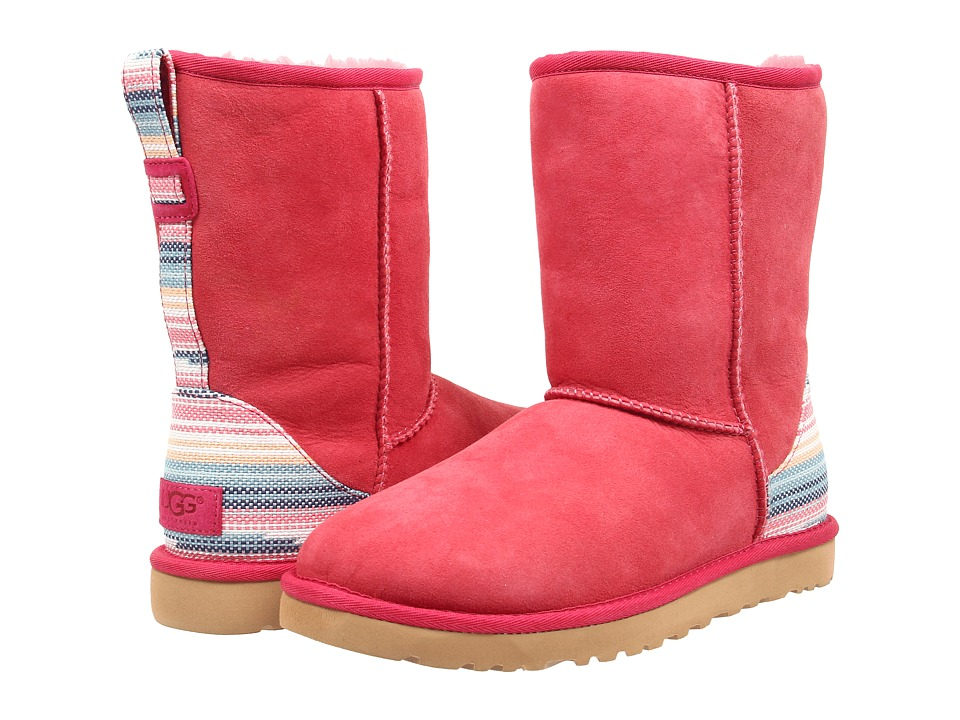 UGG - Classic Short Serape (Sunset Red Twinface) Women's Pull-on Boots